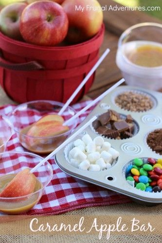 Easy Caramel Apple Bar- so fun for parties or fundraisers!  Easy, no mess and absolutely delicious!