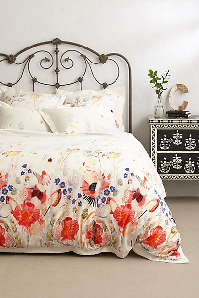 I am in LOVE! Anthropologie Garden Buzz Duvet. Watercolor, floral, poppies.