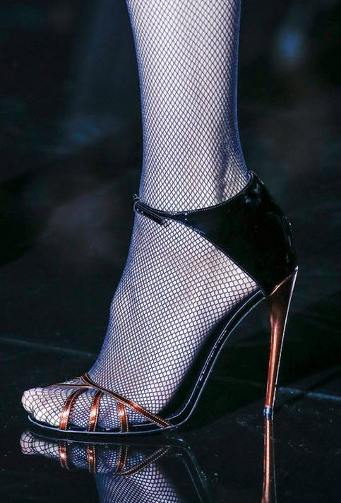 Black and metallic copper Gucci heels with fishnets | Milan Fashion Week Fall 2013 | #shoes #pumps #fashion