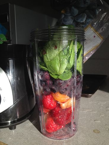 Spark smoothie?! Why not!?!  5 strawberries 1 banana 1 seedless orange Around a cup of frozen blueberries Handful of baby spinach Package of spark (mine is mango-strawberry) Liquid of choice (water, juice, coconut water/milk) Ice if your strawberries are fresh and not frozen  http://www.advocare.com/140175514
