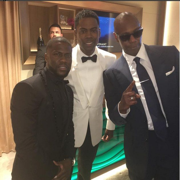 Kevin Hart, Chris Rock and Dave Chappelle Hang Tight at the Oscars from essence.com