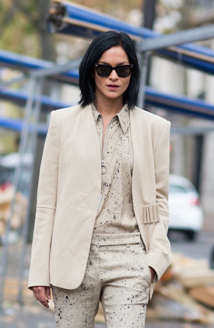 Monochromatic suiting done right: Leigh Lezark gives us major tomboy outfit inspiration at Paris Fashion Week