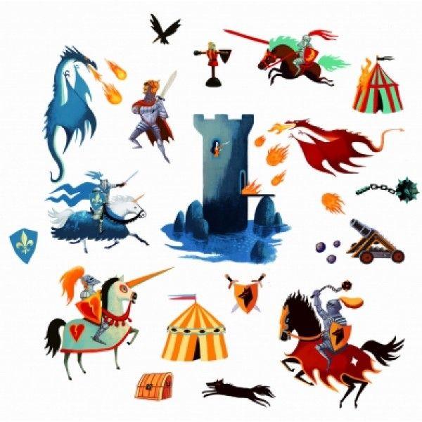 Αυτοκόλλητα τοίχου με ιππότες και δράκους