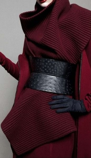 Haute Couture - in garnet wool and black leather  -...Haider Ackermann  Oh My