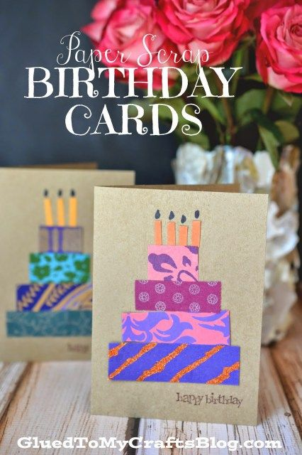 Paper Scrap Birthday Cards {Craft Idea} #StickyU