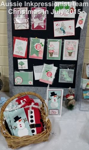 Stampin' Up! Christmas in July displays. Chocolate Sliders