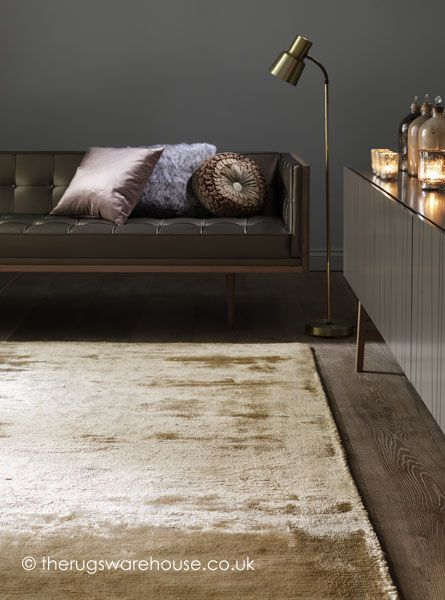 Dolce Gold Rug, a super soft hand-woven plain viscose & cotton carpet http://www.therugswarehouse.co.uk/gold-rugs/dolce-gold-rug.html #rugs #interiors