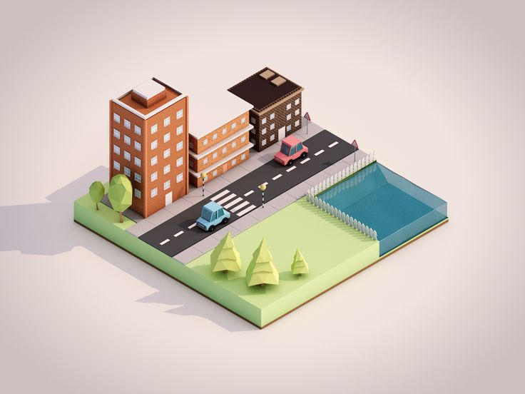 jeffshit:  tried my hand at creating an isometric low poly scene..