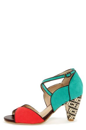 Chelsea Crew Nelly Teal and Red D'Orsay Peep Toe Heels Get 7% Cash Back www.studentrate.c...