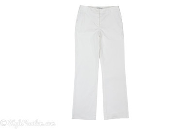 KATHERINE BARCLAY Stretch White Straight Leg Pants Size 8 at http://stylemaiden.com