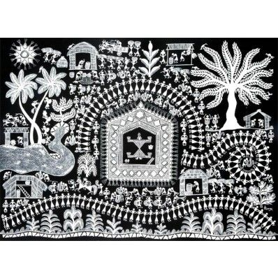 The Warli painting depicts an Indian village. Some people are busy in the paddy fields, some are working in the kitchen, while others are busy talking to each other or pulling bullock carts.