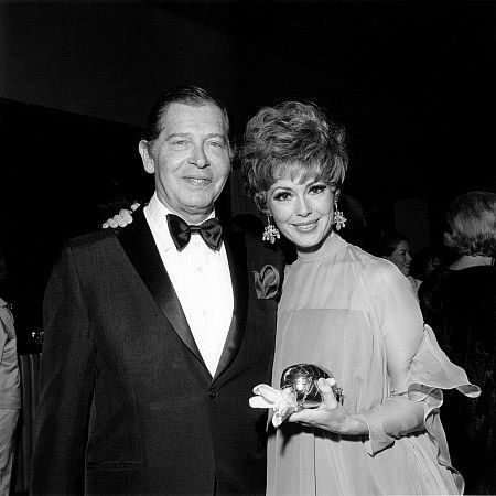 Milton Berle & Barbara Rush at Academy Of TV & Sciences Party, 1968.