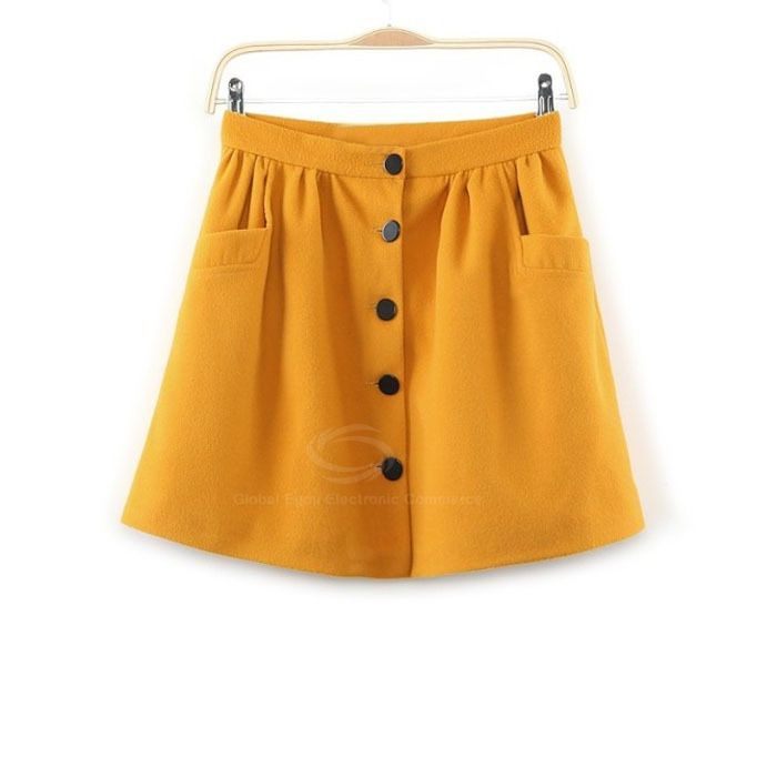 Sweet Single Breasted Pleated Design Cotton Blend A-Line Skirt For Women (YELLOW,L) China Wholesale - Sammydress.com