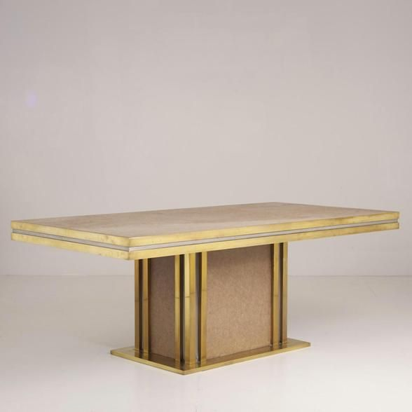 A Brass and Aluminium Dining Table designed by Mastercraft