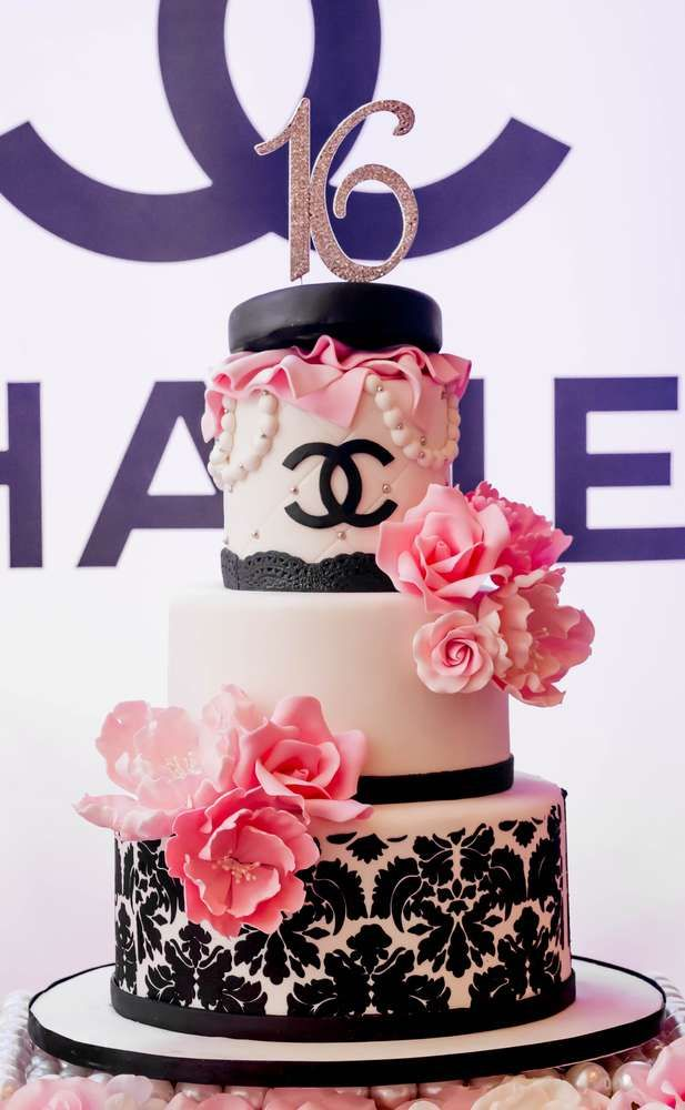 Just how elegant is this birthday cake at this Chanel Birthday Party?! Wow!! See more ideas and share yours at CatchMyParty.com