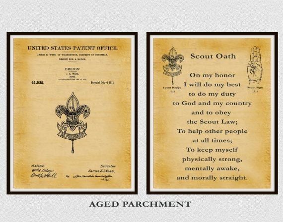 Patent 1911 Boy Scout Badge and Boy Scout by BlueMoonPatentPrints