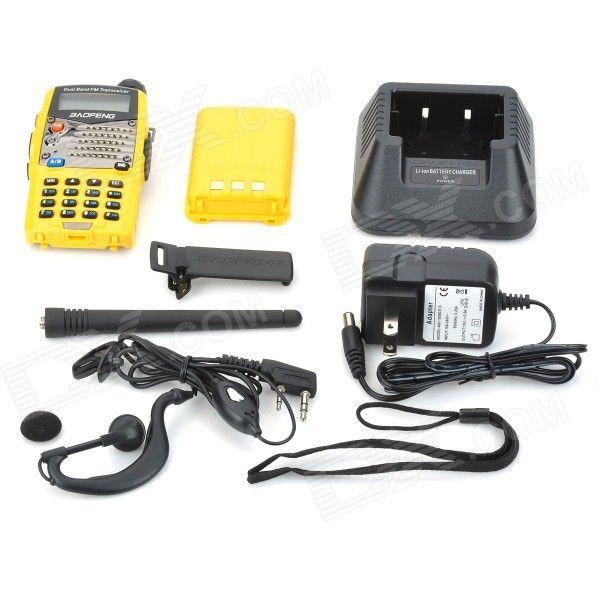 "BAOFENG UV-5RA 1.5"" LCD 5W Dual Band 128-CH Walkie Talkie w/ 1-LED Flashlight - Yellow"