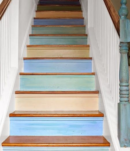 Blue Painted Staircases with a Beach Vibe