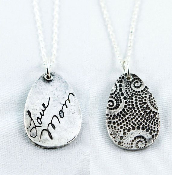 Silver actual handwriting on a necklace. Complementary background on the back. - Get 10% off your purchase with Coupon Code PINIT