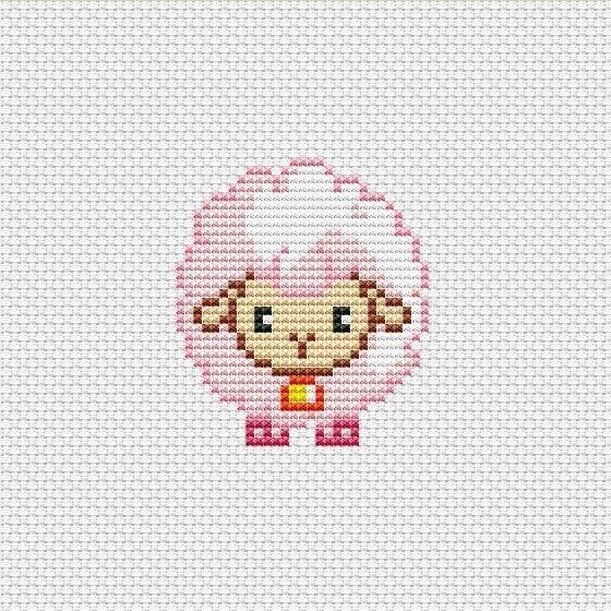 Cross stitch pattern PDF Cute lamb pink sheep - 2016 new year ideas, cross stitch, cross stitch