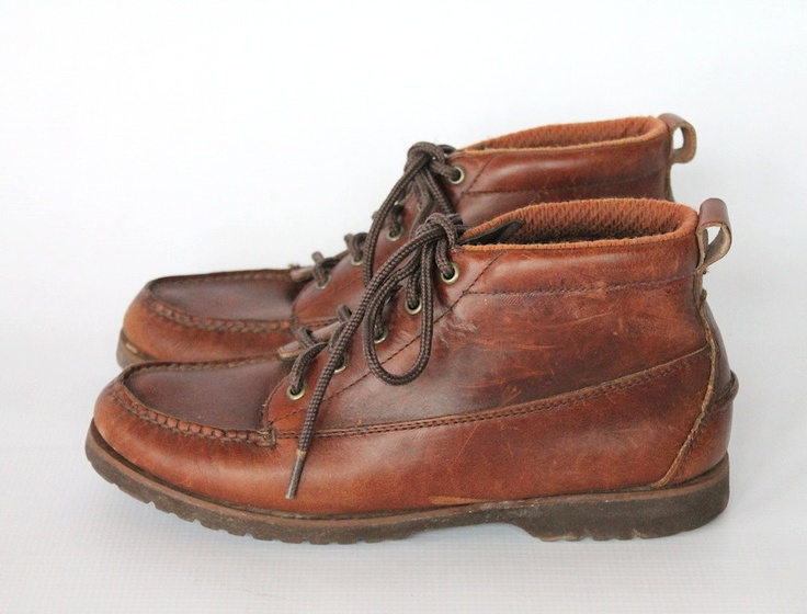 vintage 90s brown leather ankle boots womens lace up