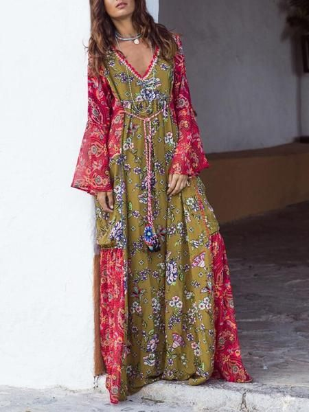 31362720d97 New Green-Red Tribal Floral Pattern Deep V-neck Flare Sleeve Flowy Bohemian  Maxi Dress in 2019