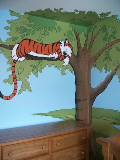 Hand painted hobbes in tree part of a nursery mural by for Calvin and hobbes bedroom mural