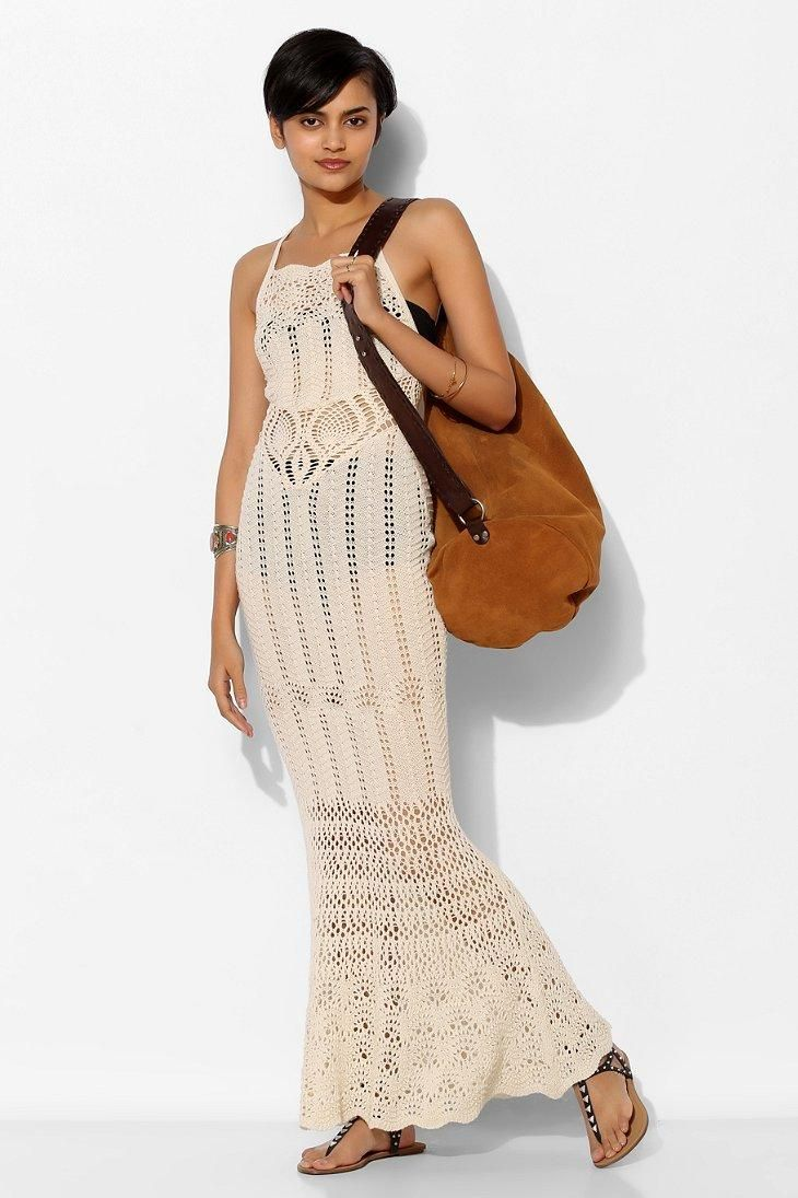 Ecote Sheer Crochet Maxi Dress Uo Exclusives Crochet Clothes