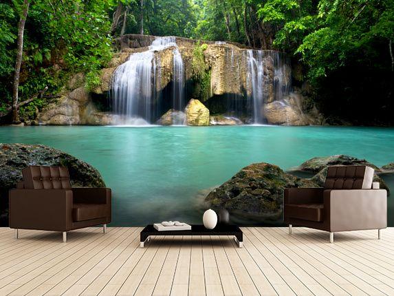 Waterfall in Kanchanaburi, Thailand wall mural room setting