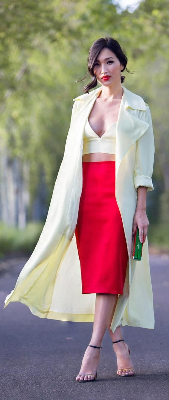 Red Midi+ Coat de Crema. Add a black or turquoise tube or tank.