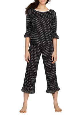 Kate Spade New York Women's 2-Piece Jersey Chiffon Ruffle Pajama Set - Black Dot - Xs
