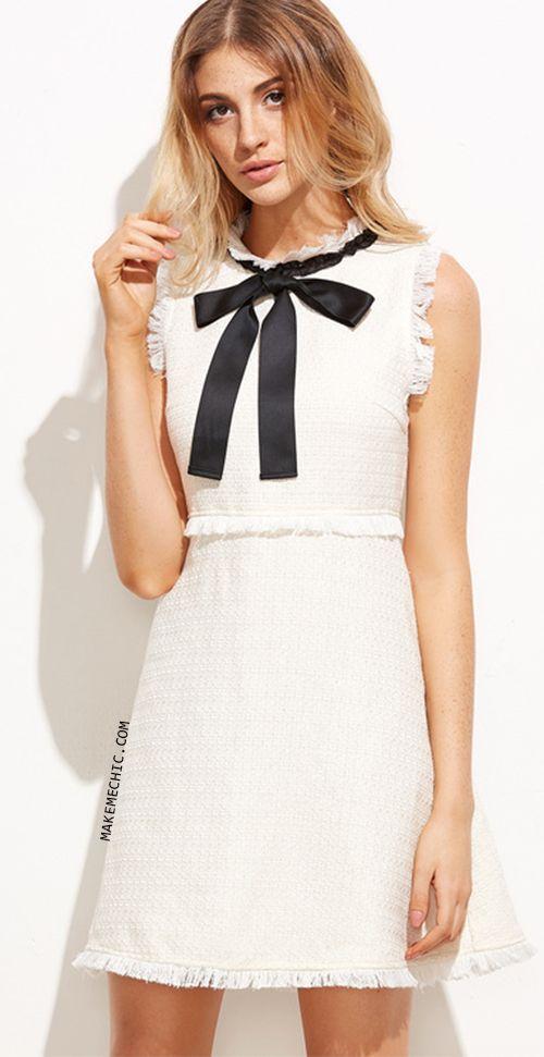 White Bow Tie Neck Frayed Trim Tweed Dress