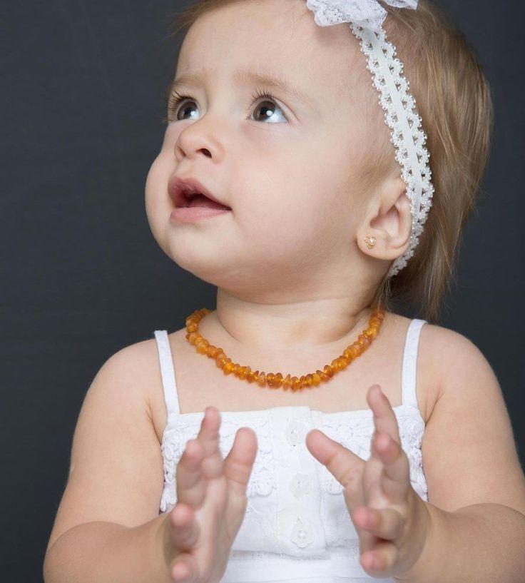 Colar de âmbar báltico para bebês mel não polido - BB + Lindo do Mundo