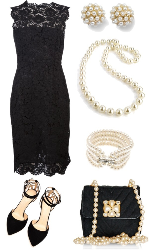 The perfect outfit, lbd & pearls, for Southern weddings & funerals.