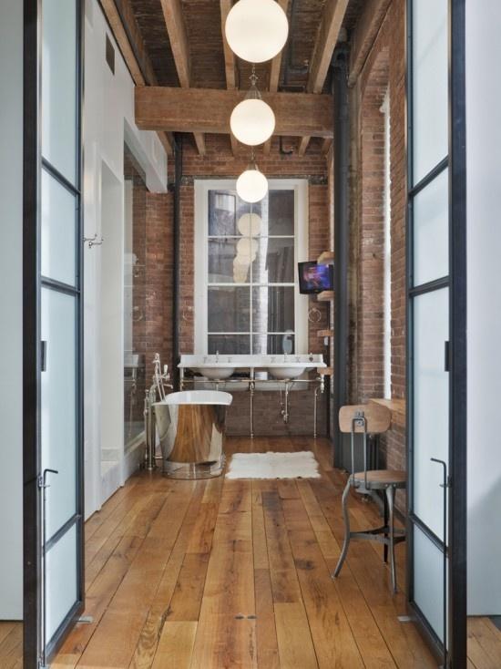 Best Red Brick Loft Images On Pinterest Brick Loft Bricks - Contemporary soho loft with exposed brick and wood beams