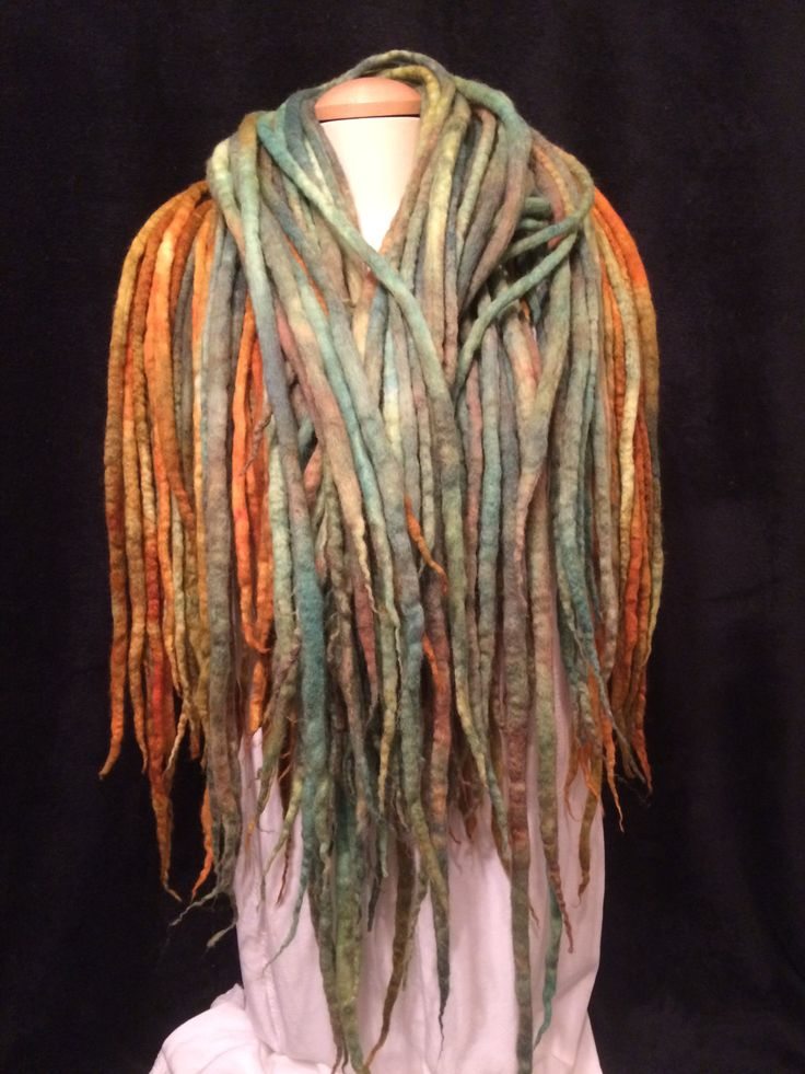 A hand dyed, wet felted merino wool 80 piece set of dreadlocks, double pointed by FeltTheFluff on Etsy
