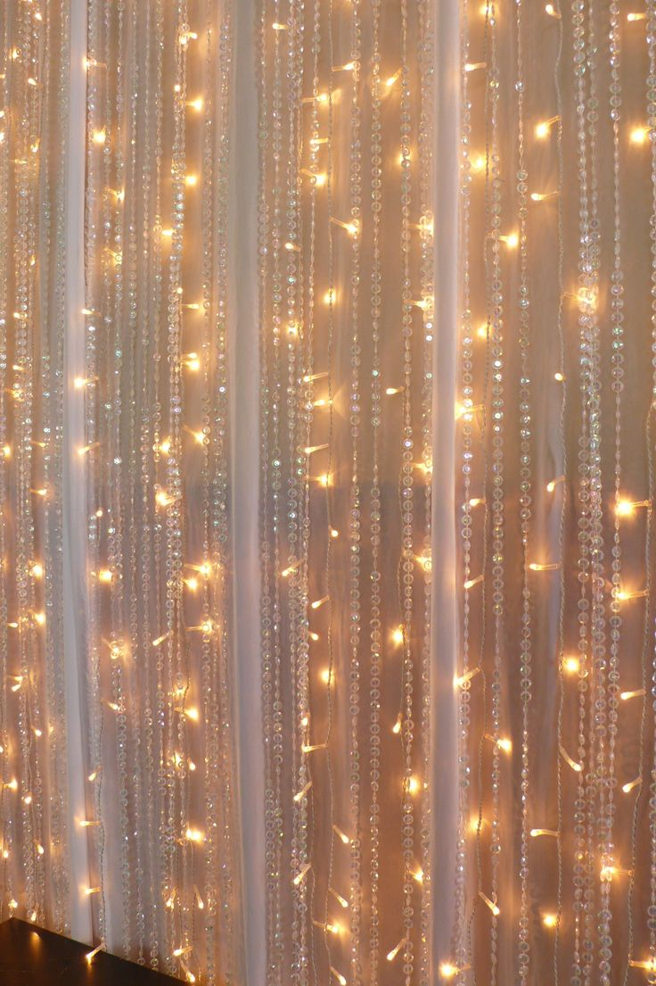 Chiffon Fairy Lights Beaded Crystal Curtains Wedding Backdrops Pinterest Chiffon