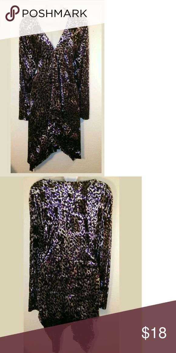 "Hook Front Purple Printed A-Symetrical Cardigan Fabulous~ Swing~ Purple, Black & White~ Size 3X~Animal Print ~Deep V~A-Symetrical~Hook Front Cardigan ~ Long Sleeves ~ Career Wear?? Bust 55""???  Front Length 41""?  Back Length 28""?? Sweaters Cardigans"