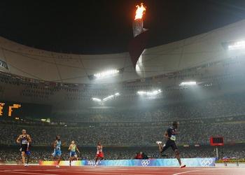 LaShawn Merritt crosses the finish line in Beijing.