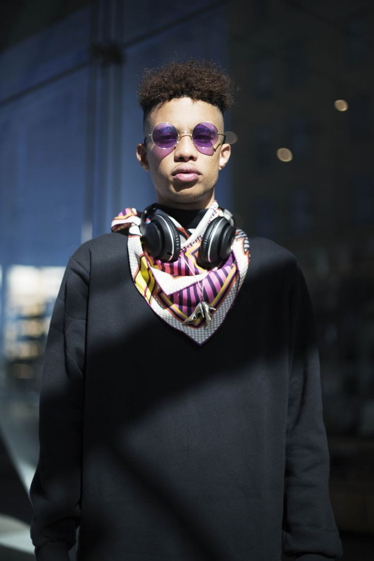 Yancarlos fresh off Yeezy Season 4, mixed his Onepiece Command Sweatshirt with a pop art Hermes scarf and vintage sunglasses for NYFW 2016
