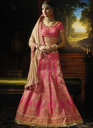 Pink Cream Embroidery Work Silk Chiffon Fancy Designer Wedding Choli        #LEHENGA #Choli #Wedding #Bridal       http://www.angelnx.com/Lehenga Choli