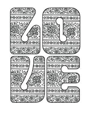 love paisley retro lettering adult coloring page - Love Coloring Pages Teenagers