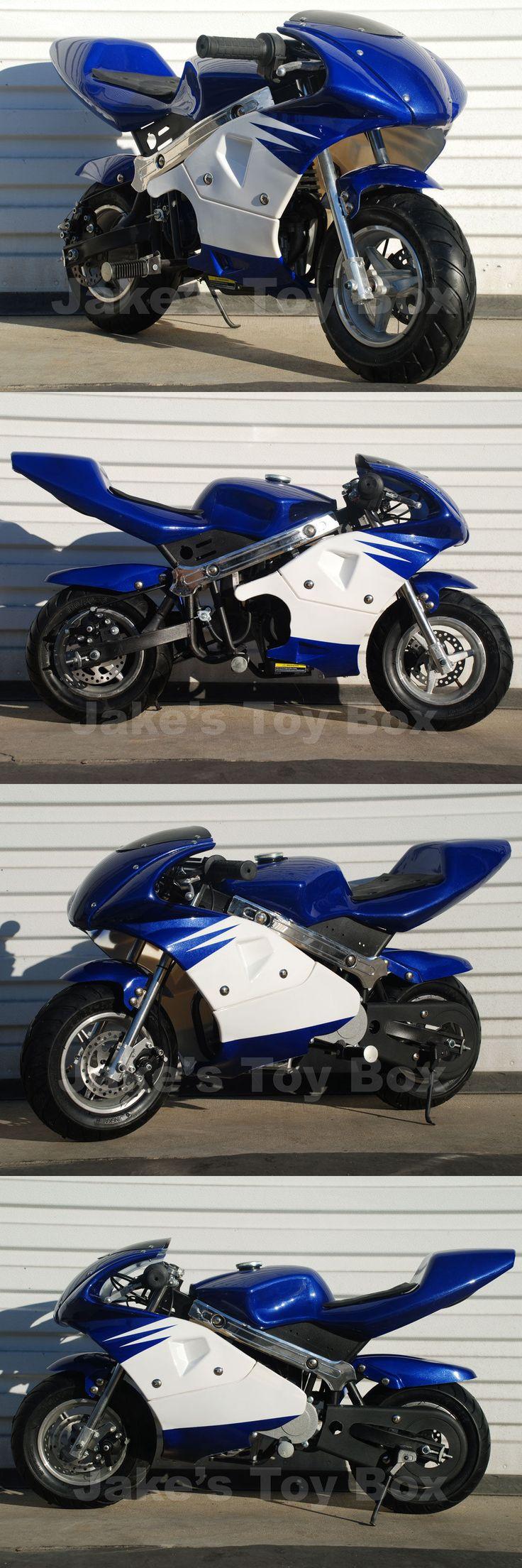 Gas Scooters 75211: Gas Powered Kids Mini Pocket Rocket 40Cc Pocket Bike - Blue BUY IT NOW ONLY: $275.0