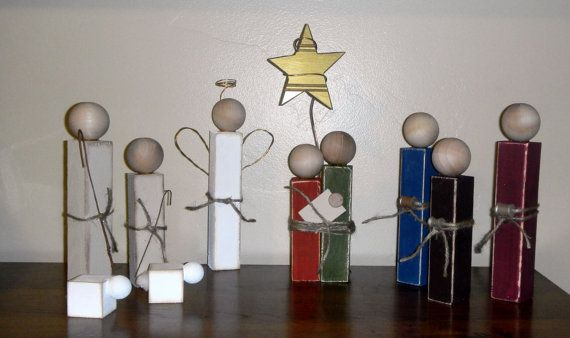 Simple Wooden Nativity Set by SuziShoppe on Etsy, $24.99 Lani needs to get me the missing parts...hint hint