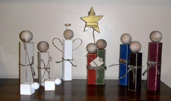 wooden nativity (SuziShoppe) on etsy