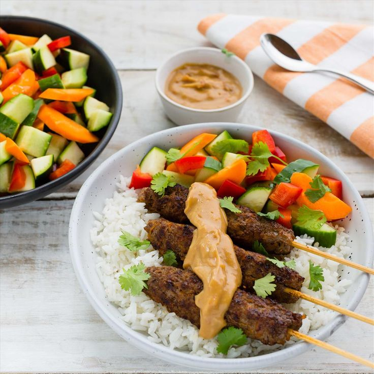 Satay Beef Skewers with Coconut Rice and Chunky Salad