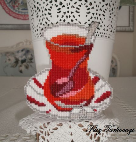 İyi Bayramlar...( TURKİSH TEA ) Designed and stitched by Filiz Türkocağı