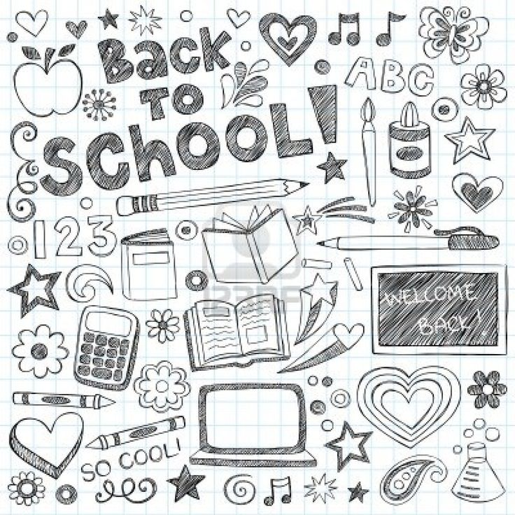 Back to School Supplies Sketchy Notebook Doodles with Lettering, Shooting Stars, and Swirls- Hand-Drawn Vector Illustration Design Elements on Lined Sketchbook Paper Background Stock Photo - 14397852