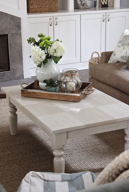 add decor items in varying heights to a tray for a simple but beautiful coffee table centerpiece