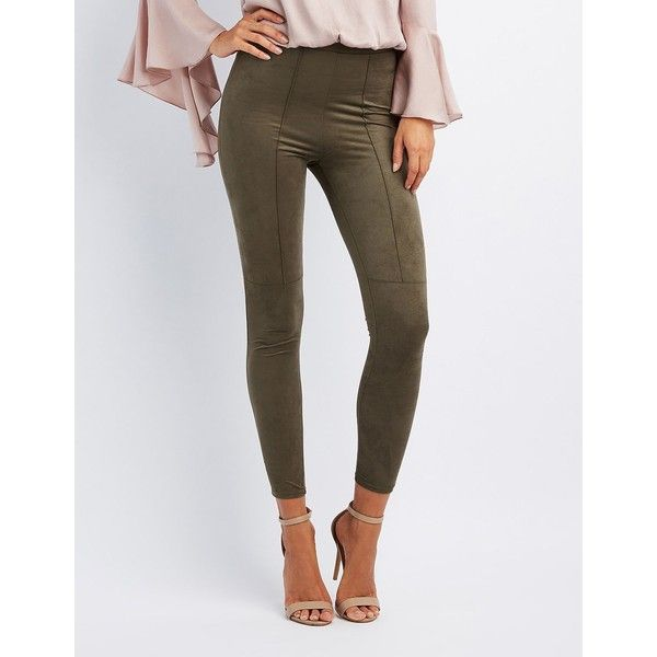 Charlotte Russe Faux Suede Leggings ($24) ❤ liked on Polyvore featuring pants, leggings, olive, skinny pants, charlotte russe leggings, olive pants, faux suede leggings and high-waist trousers
